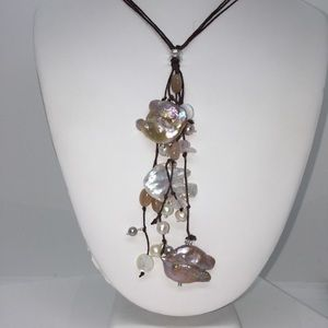 Jewelry - Baroque Pearl Lariat Style Linen Necklace